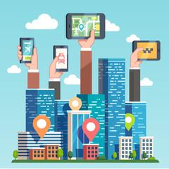 Urban area gps map navigation via devices