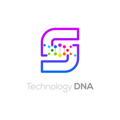 Letter S colorful with abstract biotechnology dna logotype. Medicine, science, laboratory,Technology DNA vector concept
