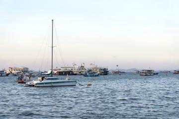 Parking boats at sea.