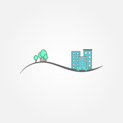 Line city background vector