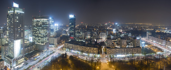 Warsaw city with skyscrapers at night