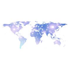 World map with global technology networking concept. Digital data visualization. Lines plexus. Big Data background communication. Scientific vector illustration.