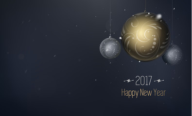 Holiday abstract composition with gold and silver ball. Vector illustration of Christmas toy with flares and snow on dark background with gold inscription. Abstract in vintage style. Horizontal EPS 10