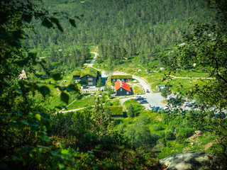 Looking at the houses in the valley, Norway summer 2015