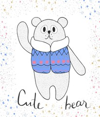 Cute illustration of bear in down jackets. Cartoon vector.