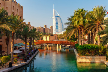 Spoed Fotobehang Dubai Cityscape with beautiful park with palm trees in Dubai, UAE