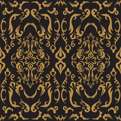 Damask seamless classic pattern. Vintage Baroque delicate vector background. Classic damask ornament for wallpapers, textile, fabric, wrapping, wedding invitation. Exquisite floral baroque template.