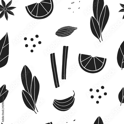 quotspices seamless pattern cartoon black and white
