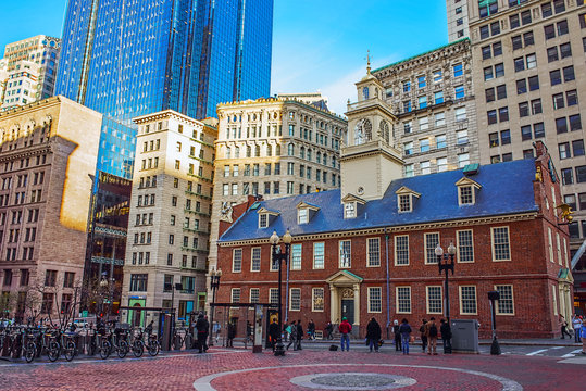 Old State House in Financial district in Downtown Boston US