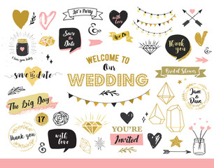 Chic Wedding Party glitter greeting cards and invitations. Gold hearts, speech bubbles, stars and other elements. Vector element, backgrounds. Gold, pink and blue sparkle, chic style