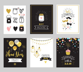 Chic Party glitter greeting cards and invitations. Gold hearts, speech bubbles, stars and other elements. Vector element, backgrounds. Gold, pink and blue sparkle, chic style