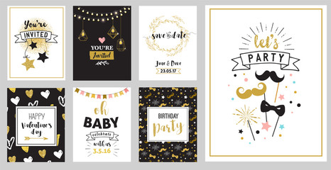 Chick Party glitter greeting cards and invitations. Gold hearts, speech bubbles, stars and other elements. Vector element, backgrounds. Gold, pink and blue sparkle, chic style