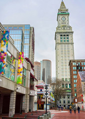 Custom House Tower and Faneuil Hall Marketplace at downtown Boston