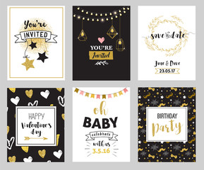 Chic Party glitter greeting cards and invitations. Gold hearts, speech bubbles, stars, elements. Vector element, backgrounds. Golden, pink, blue sparkle