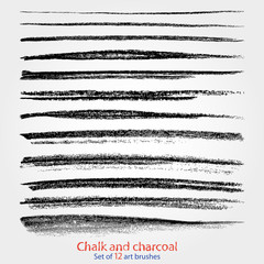 Chalk and charcoal. A set of vector brushstrokes. Grunge texture. Brushes are stored in the palette.