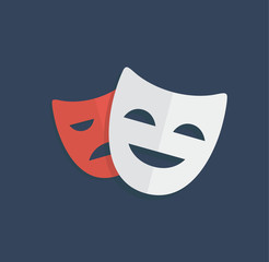 Mask theatre drama actor symbol logo icon flat vector stock