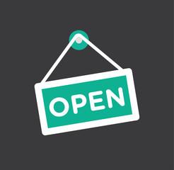 Open store icon symbol - door opening icon flat vector stock