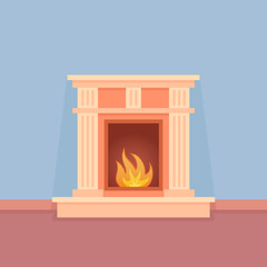 Classic fireplace. Element of room interior. Flat style vector illustration.