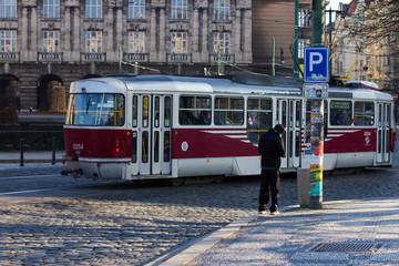 public transport by red tram in Prague