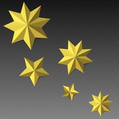 Eight corner paper stars on dark backgroud. Vector illustration.