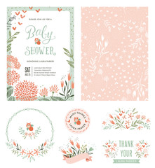 Baby Shower invitation with seamless background and floral typographic design elements. Vector illustration.
