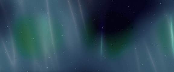 Night sky background with aurora borealis effects and stars, panoramic view, digital illustration art work.