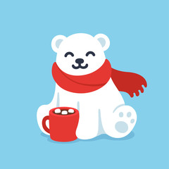 Cute polar bear with hot chocolate cup