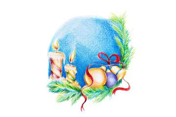 Pencil sketch of a Christmas theme