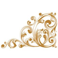Golden vintage baroque ornament. Retro pattern antique style acanthus. Decorative design element filigree calligraphy vector.