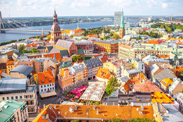 Panoramic aerial view on the old town of Riga city, Latvia Wall mural