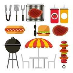 barbecue grill icons over white background. colorful design. vector illustration