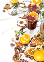 Mulled wine Hot red punch Christmas table decoration