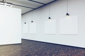 Side view of an art gallery with a blank wall and row of picture