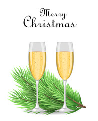Merry Christmas and Happy New Year postcard. Realistic Christmas tree branch and two glasses of champagne. Usable as a background or design element. Vector illustration.