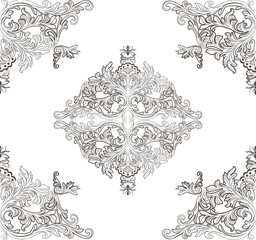 Vintage Baroque ornament floral pattern. Vector Retro Antique style Acanthus foliage. Decorative filigree texture