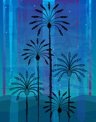 Desert Palm Trees - Stylized silhouetted palm trees on abstract blue background. Eps10