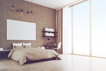 Bedroom with concrete wall and floor, toned