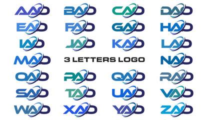 3 letters modern generic swoosh logo AAO, BAO, CAO, DAO, EAO, FAO, GAO, HAO, IAO, JAO, KAO, LAO, MAO, NAO, OAO, PAO, QAO, RAO, SAO, TAO, UAO, VAO, WAO, XAO, YAO, ZAO