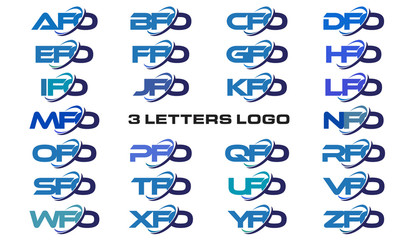 3 letters modern generic swoosh logo AFO, BFO, CFO, DFO, EFO, FFO, GFO, HFO, IFO, JFO, KFO, LFO, MFO, NFO, OFO, PFO, QFO, RFO, SFO, TFO, UFO, VFO, WFO, XFO, YFO, ZFO