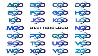 3 letters modern generic swoosh logo AQO, BQO, CQO, DQO, EQO, FQO, GQO, HQO, IQO, JQO, KQO, LQO, MQO, NQO, OQO, PQO, QQO, RQO, SQO, TQO, UQO, VQO, WQO, XQO, YQO, ZQO