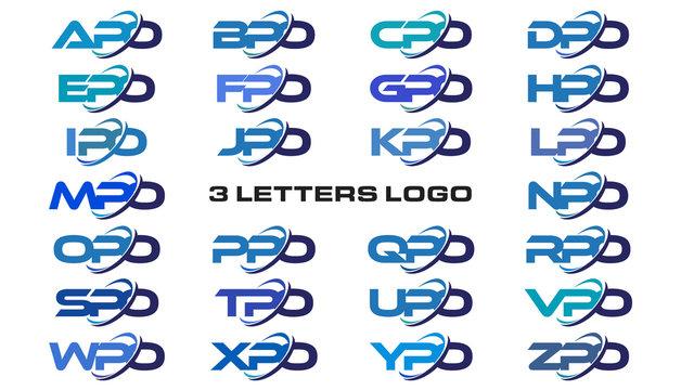 3 letters modern generic swoosh logo APO, BPO, CPO, DPO, EPO, FPO, GPO, HPO, IPO, JPO, KPO, LPO, MPO, NPO, OPO, PPO, QPO, RPO, SPO, TPO, UPO, VPO, WPO, XPO, YPO, ZPO