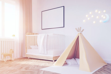 Baby's room. Crib, tent, toned