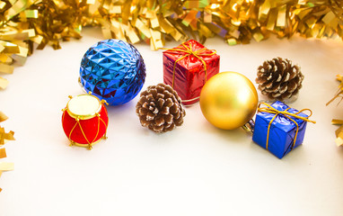 Christmas ornament composition on white background.