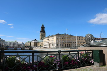 Gothenburg in Sweden view to Town Hall and Christinae kyrka at Stora Hamnkanalen, Scandinavia
