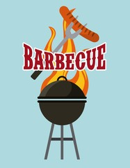 fork with sausage and barbecue grill icon over blue background. colorful design. vector illustration