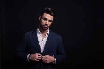 Man fashion model, wearing suit.