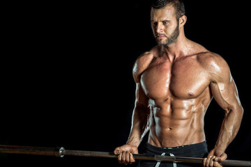 Barbell biceps exercise.