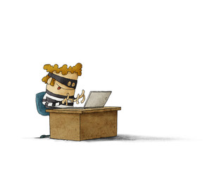 Thief with mask is sitting and typing on a laptop