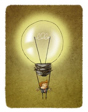 Idea concept of a light bulb air balloon with a businessman hanging from it
