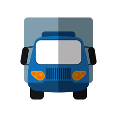 blue truck small cargo transportation shadow vector illustration eps 10